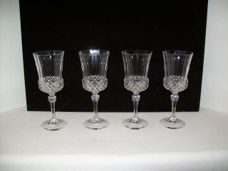 Antique Crystal Wine Glasses,  4 Matching,  Circa 1909 photo