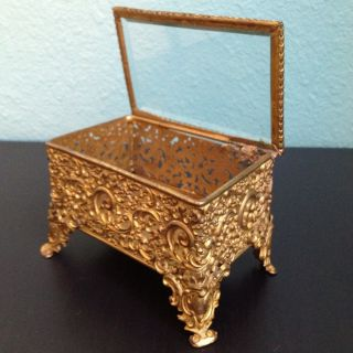 Antique Rococo C.  1900 Gold Gilt Metal Jewelry Box Beveled Glass Royal Mfg Co photo