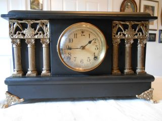 Antique Sessions Black Temple Style With Columns Mantle Shelf Clock photo