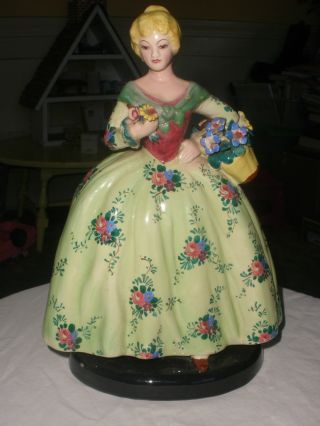 Vintage Italian Pottery Flower Lady Figurine Stunning photo