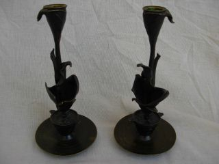 Antique French Bronze Candlestick,  Later 19th Century,  Art Nouveau Style. photo