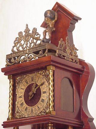 Old Figural Large Wuba Dutch Atlas Zaandam Wall Clock Two Brass Weights 8 Days photo