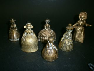 A Group Of Six Victorian Style Brass Crinoline Lady Table Bells photo