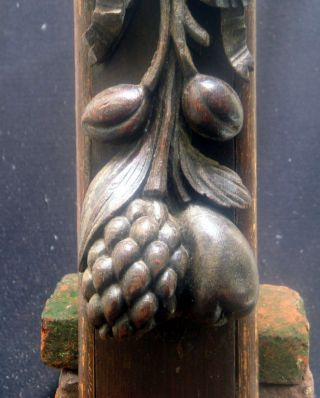 Quality Carved 17th Century Wood Carving Wiht A Pomegrenate And Grapes. photo