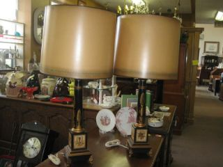 Pair Of Vintage French Tole Lamps Signed Made In France Designer photo
