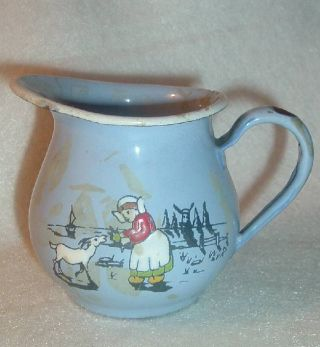 Old Germany Enamel Ware Childs Cream Pitcher photo