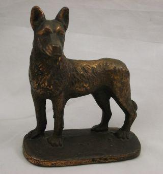 Vintage 1929 Cast Bronze German Shepherd Door Stop Figurine - Gift House Inc Nyc photo