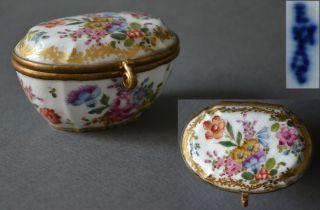 Excellent 18th Century German Gilt Polychrome Porcelain Box Gilding Brass photo