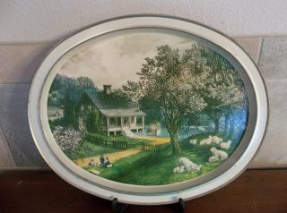Currier & Ives Metal Serving Tray,  Vintage photo