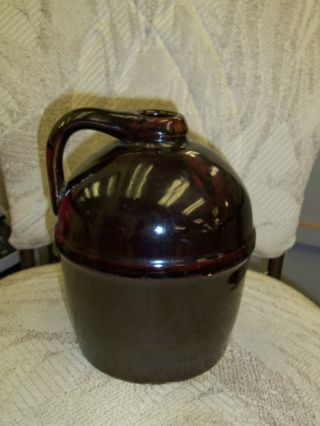 Antique Peoria Pottery Gallon Jug Brown Burnt Orange Glaze photo