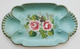 Vintage Green Scallop Tray Toleware Style Hand Painted Flowers Lqqk photo