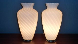 Pair Of Huge Vintage Murano Lamps Venini Style 1970 Ponti Colombo Space Age photo