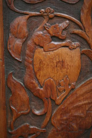 19th C.  Gothic Wooden Relief Carved Panel With Winged Gargoyle Carvings photo