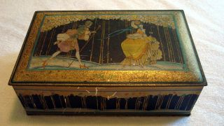 Antique Canco Beautebox Metal Candy Box Huyler ' S New York Art Deco Style photo