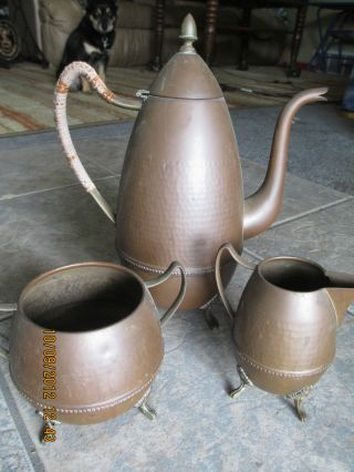 @@antique Copper Tea Coffee Pot Cream Sugar Hammered Ornate Set Kettle Brass photo