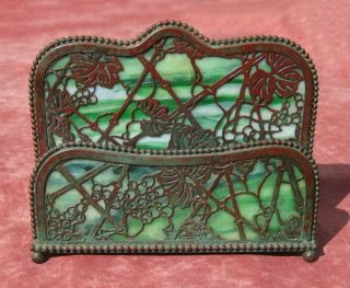 Tiffany Studios Double Letter Holder,  Grapevine Pattern,  Arts And Crafts Period photo