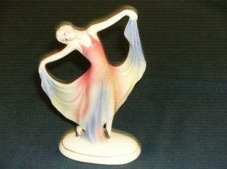 Vintage Art Deco Porcelain Dancing Lady Figurine E.  K.  Germany photo