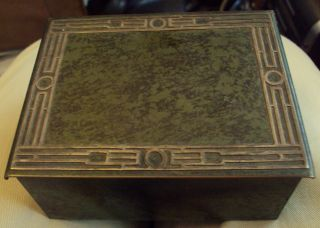 1912 Heinz Metal Arts Craft Sterling Silver On Bronze Box W/ Hinged Lid No Res. photo