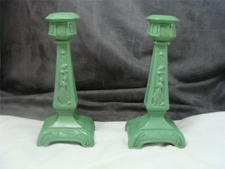 Frankart Or Ronson Art Deco Candleholders Pair Condition photo