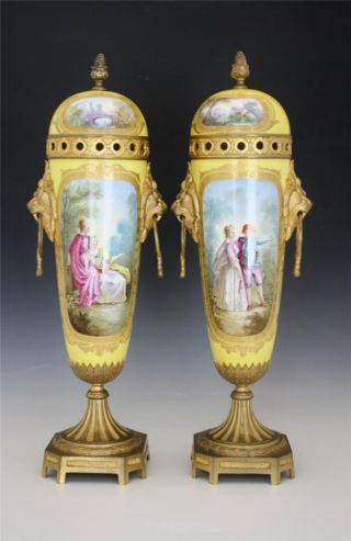 Pair 19c French Sevres Porcelain Tall Covered Urns W/ Bronze Mounts No Res photo