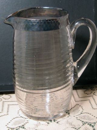 Sterling Silver Overlay Water Pitcher Hammered Top Band photo