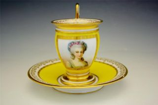 Early 19c Sevres Imperial Porcelain Portrait Cup & Saucer photo