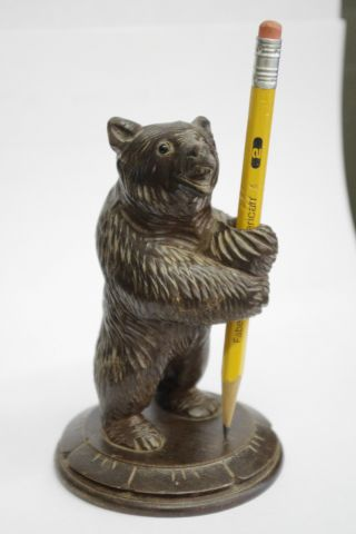 Carved Black Forest Bear Pen Hldr - Swiss/german Arts Crafts Mission Adirondack photo