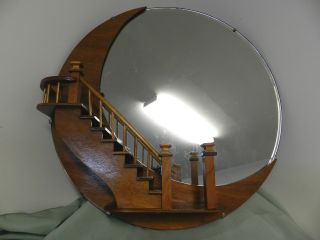 Vintage Round Mirror With Wooden Staircase/quarter Moon 24