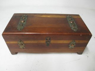 Vintage Wooden Cedar Jewlery Box Hinged Cover With Latch Treasure Box photo