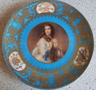 Antique Sevres 1771 Portrait Plate - Noble Woman - Raised Gold photo