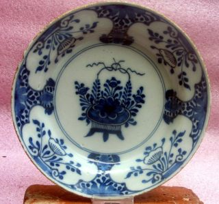 Authentic 18th Century Delftware Plate Flower Decor photo