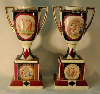Antique Victorian Pair Of Royal Vienna Porcelain Vases photo