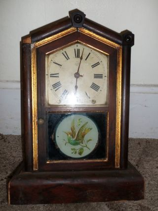 Antique Seth Thomas Victorian Era?? Mantle Clock Parts & Repair Painted Bird photo
