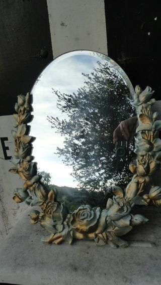 Hollywood Regency Syroco Wood Dresser Vanity Mirror Barbola Roses Shabby Chic photo