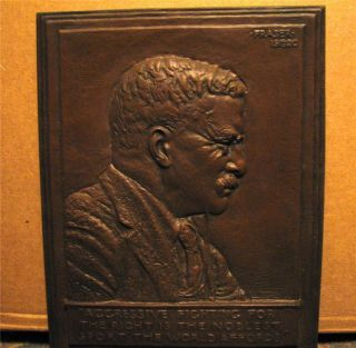Theodore Teddy Roosevelt.  Bronze Plaque By Fraser/ Free Domestic photo