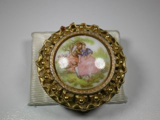 Antique Porcelain Top 3 - Section Divided Pill Box Gilded Metal Romantic Scene photo