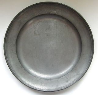 Pewter Plate,  Deep Dish,  Touch Marked,  Monogramed And Dated 1868 photo