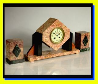 Stunning Art Deco French Marble Garniture Time & Strike Clock Vgc Just Serviced photo