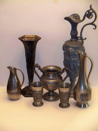 (6) Antique Pewter Pieces Vase,  Pitcher,  Goblets photo