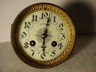 Antique French Clock Movement C 1900 Cream Enamel Dial N°72// Hole:4.  03