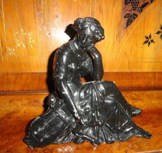 Antique Spelter Metal Goddess Clock Topper Note Her Third Leg Rare photo