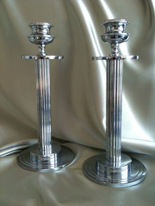 Quality Vintage Art Deco Chrome On Brass Candlesticks Stepped Design Fluted Stem photo