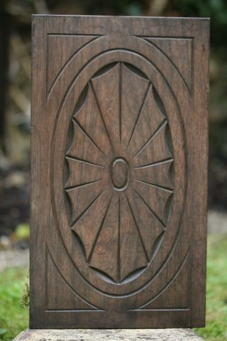 19th C.  Rosewood Carved Wooden Panel With Central Carvings photo