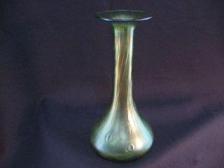 Loetz Green Iridescent Creta Rusticana Long Neck Vase Ca - 1900 photo