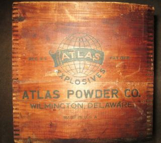 Antique Dovetailed Large Wooden Box Atlas Manasite Electric Blasting Caps photo