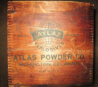 Antique Dovetailed Large Wooden Box Atlas Manasite Electric Blasting Caps photo