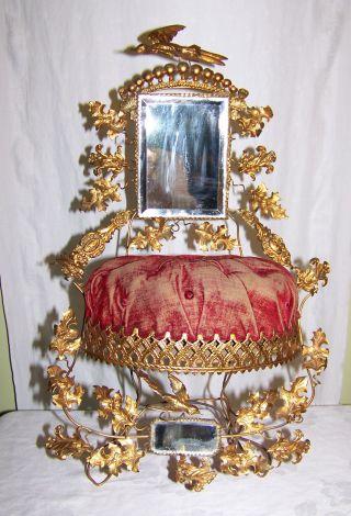 Globe De Mariee Antique Victorian Fancy Metal Birds & Mirrors Wedding Chair Pc photo