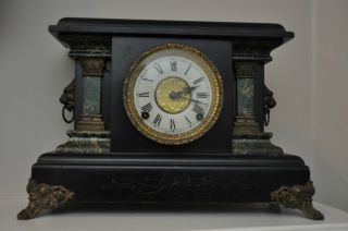 Antique E.  Ingraham Mantle Clock Lions Head Black & Marble Facade photo
