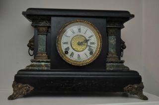 Antique E.  Ingraham Mantle Clock Lions Head Black & Marble Facade photo