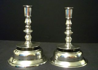Fabulous And Rare Antique English Capstan Pewter Candlesticks photo